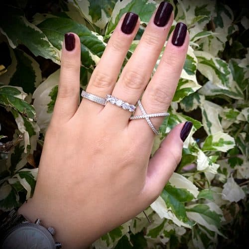 טבעת כסף שלוש שורות ריבועים צמודים