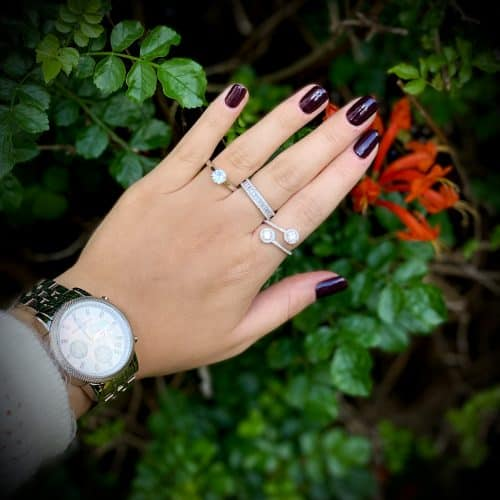 טבעת כסף אבן מרכזית חלקה