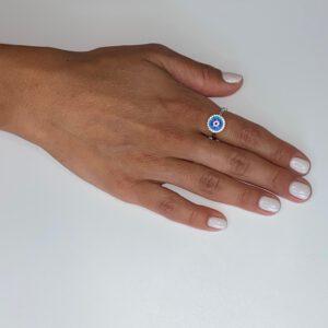 טבעת כסף שלבים בשיבוץ אבני זירקון צבעוניות