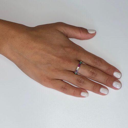 טבעת כסף אבני זכוכית צבעוניות