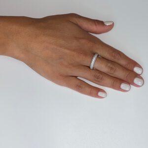 טבעת כסף ארבע שורות זירקונים צמודים