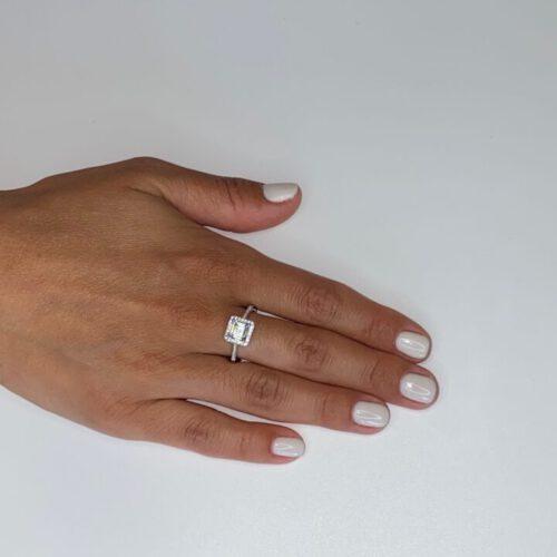 טבעת כסף סוליטר מרובע