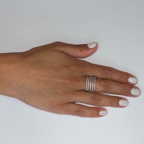 טבעת כסף חמש פסים