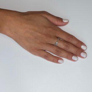 טבעת כסף ענפים פתוחה