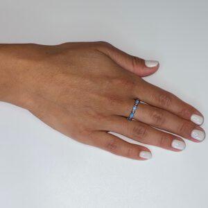 טבעת כסף S925 עיניים תכלת כחול