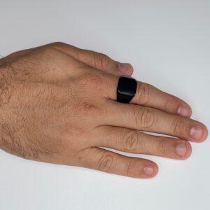 טבעת מפלדת אל חלד ריבוע שחור