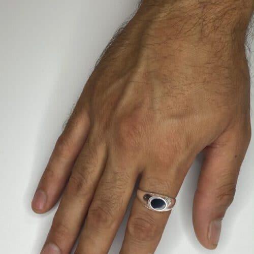 טבעת כסף  S925 משובצת אבן אוניקס שחורה