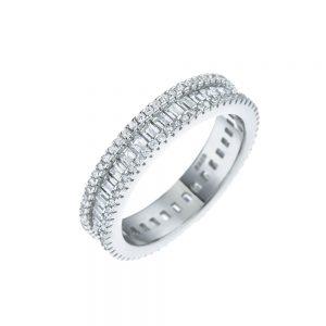 טבעת כסף בשילוב זירקונים ואבני זכוכית