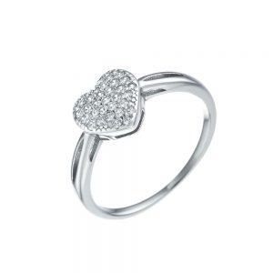 טבעת כסף לב מלא