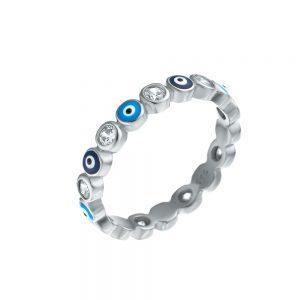 טבעת כסף עיניים תכלת כחול
