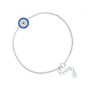 צמיד כסף עיגול מלא עם זירקונים כחולים