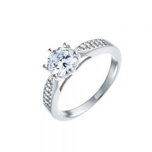 טבעת כסף זירקון מרכזי שני פסים צמודים