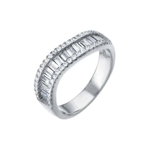 טבעת כסף גל בשיבוץ אבני זירקון וזכוכית
