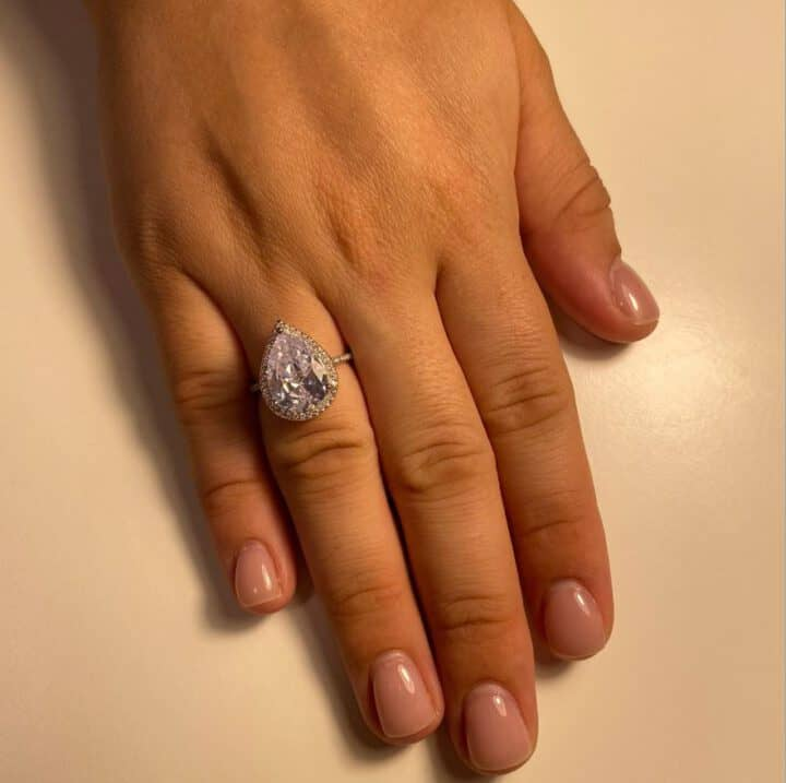 טבעת טיפה יהלום מוחשי