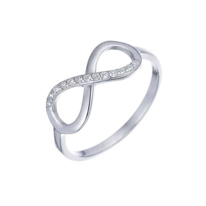 טבעת כסף אינסוף חצי משובץ