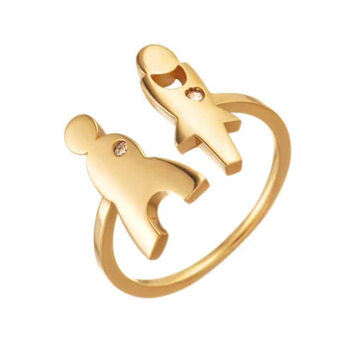 טבעת כסף הרן אנד דאמן עם ציפוי זהב