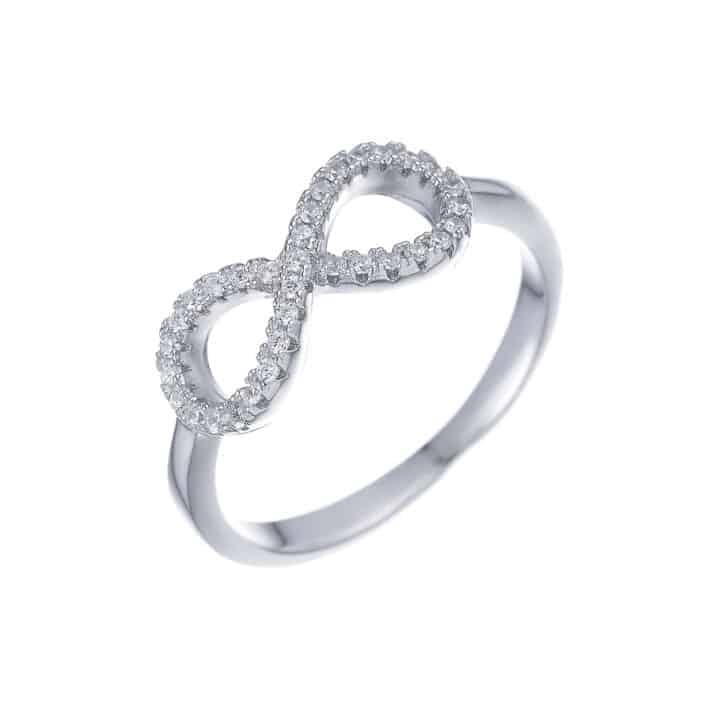 טבעת כסף חלקה אינסוף משובץ
