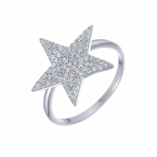 טבעת כסף כוכב משובץ גדול