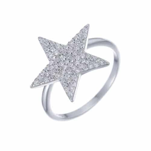טבעת כסף S925 כוכב משובץ גדול