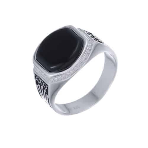 טבעת כסף S925 כתרים עם אבן אוניקס