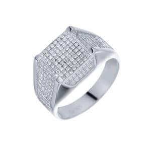 טבעת כסף S925 משובצת ריבוע