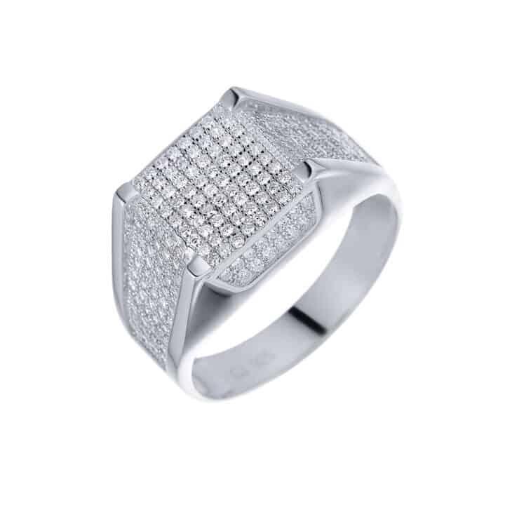 טבעת כסף לגבר משובצת ריבוע