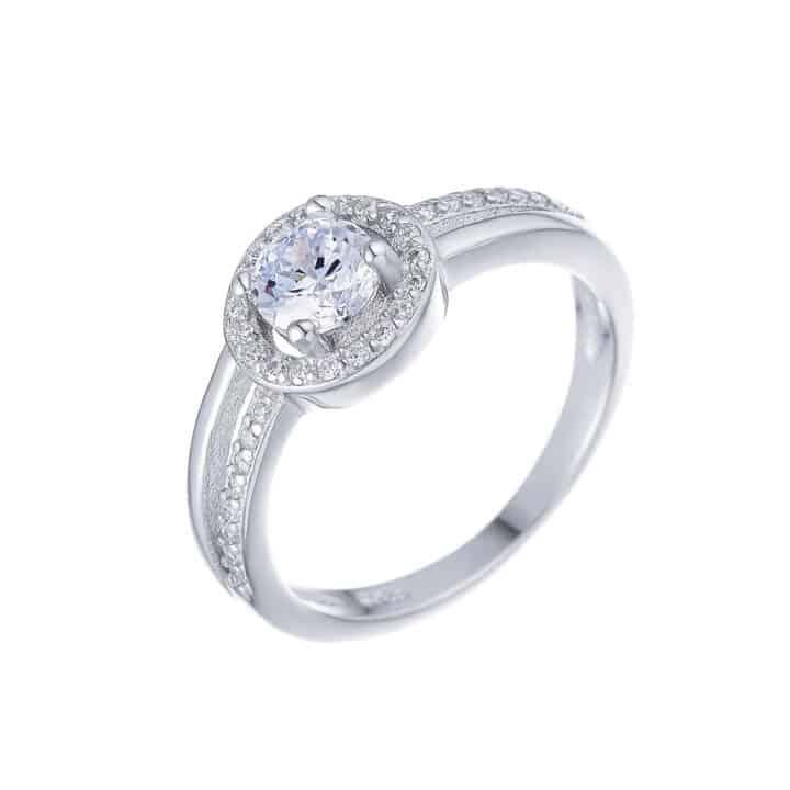טבעת כסף סוליטר קלאסית