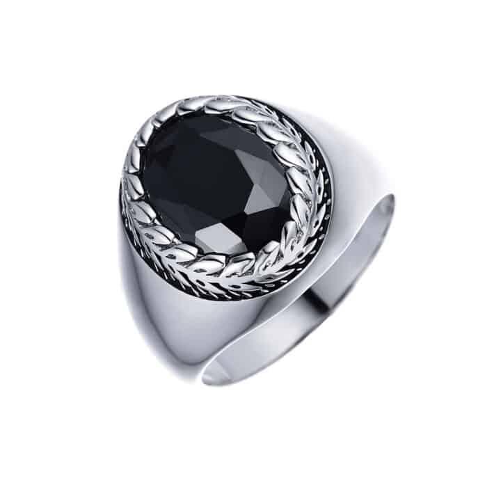 טבעת לגבר כסף עלים עם אבן אוניקס אליפסה