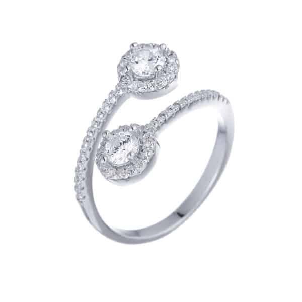 טבעת כסף שני עיגולים פתוחה