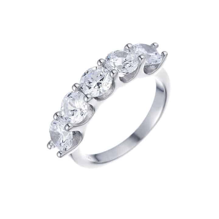 טבעת כסף 5 אבנים גדולות