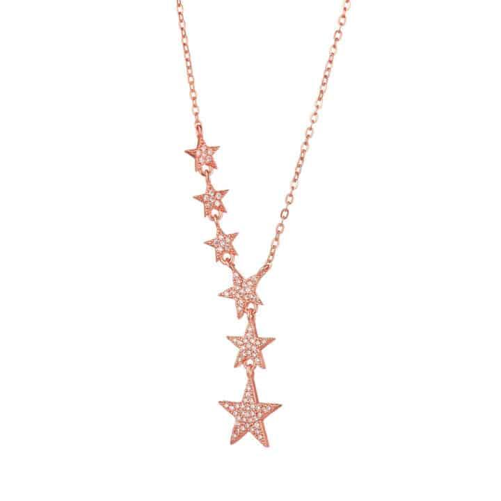 שרשרת כסף 6 כוכבים נופלת בציפוי רוז גולד