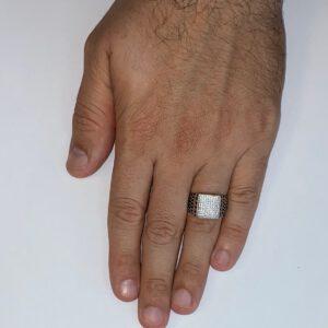 טבעת כסף S925 כספת משובצת כתרים