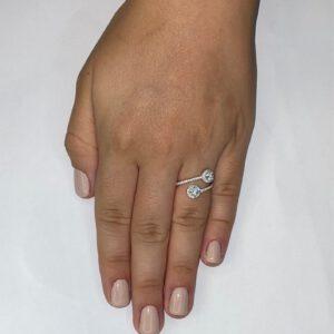 טבעת כסף S925 שני עיגולים פתוחה