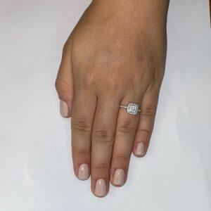 טבעת כסף S925 ריבוע כפול