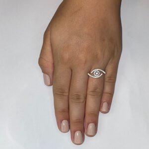 טבעת כסף S925 עין גדי