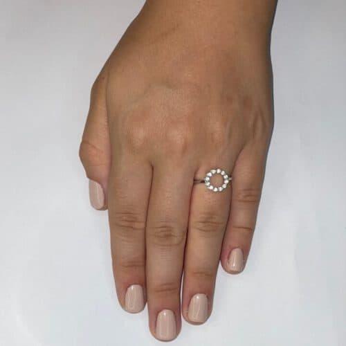טבעת כסף S925 עיגול משובץ