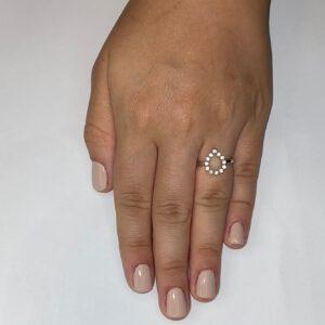 טבעת כסף S925 טיפה חלולה