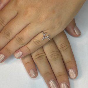 טבעת כסף S925 חלקה קרניים