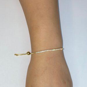 צמיד כסף S925 משובץ בציפוי זהב עם סגירת חרוז