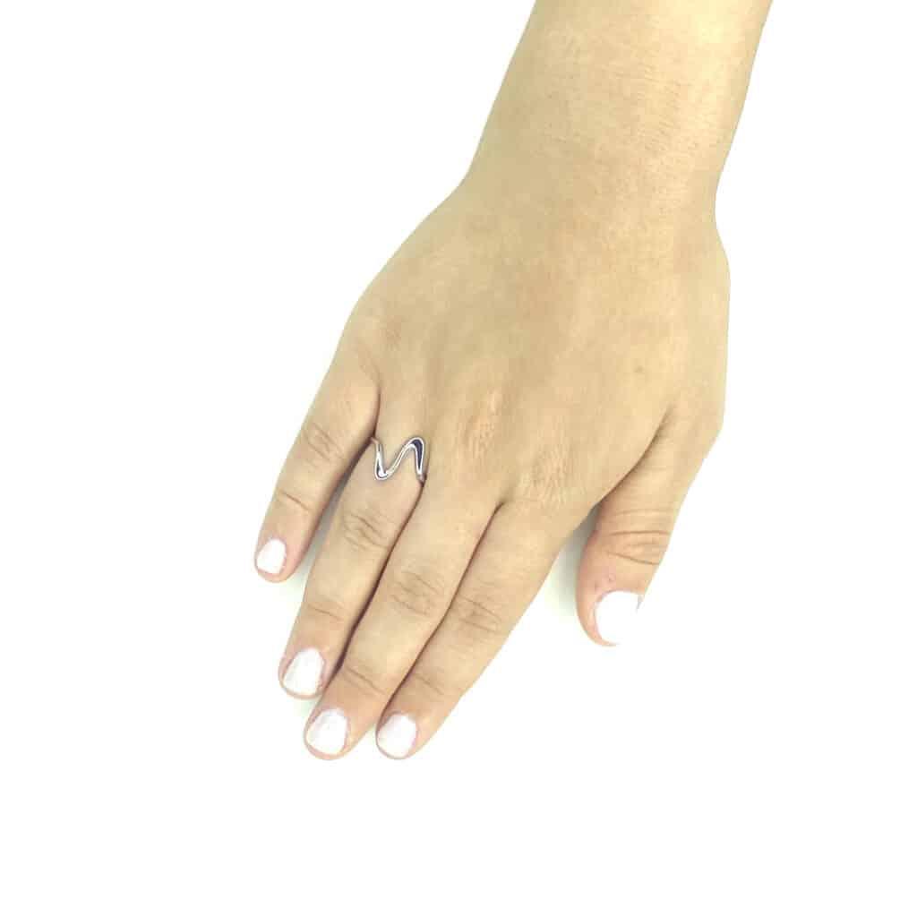 טבעת כסף גל 925 2