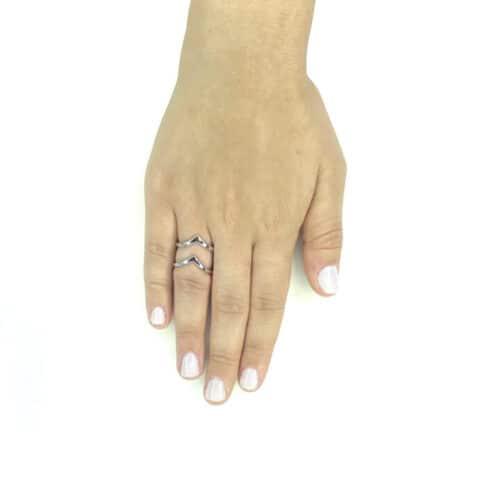 טבעת כסף 925 דאבל וי
