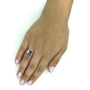 טבעת כסף 925 לולאה פס צר