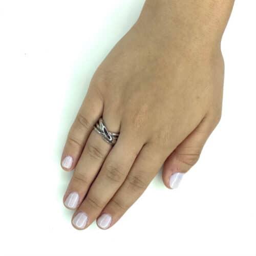 טבעת כסף 925 ליין מיקס