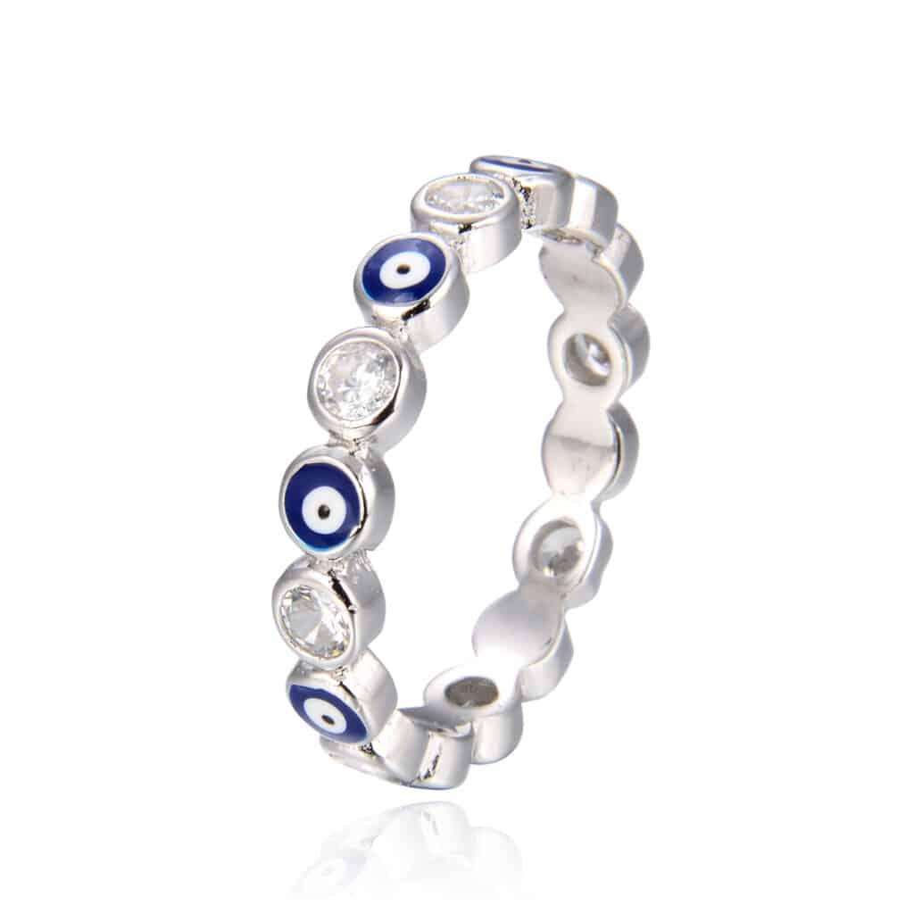 טבעת כסף 925 עינים כחולות מזל דקה