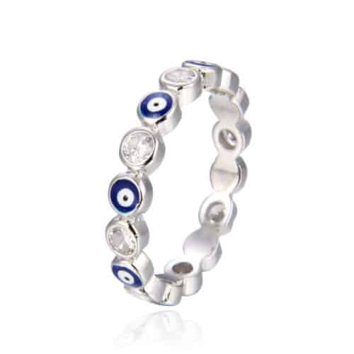 טבעת כסף 925  עיניים כחולות מזל דקה