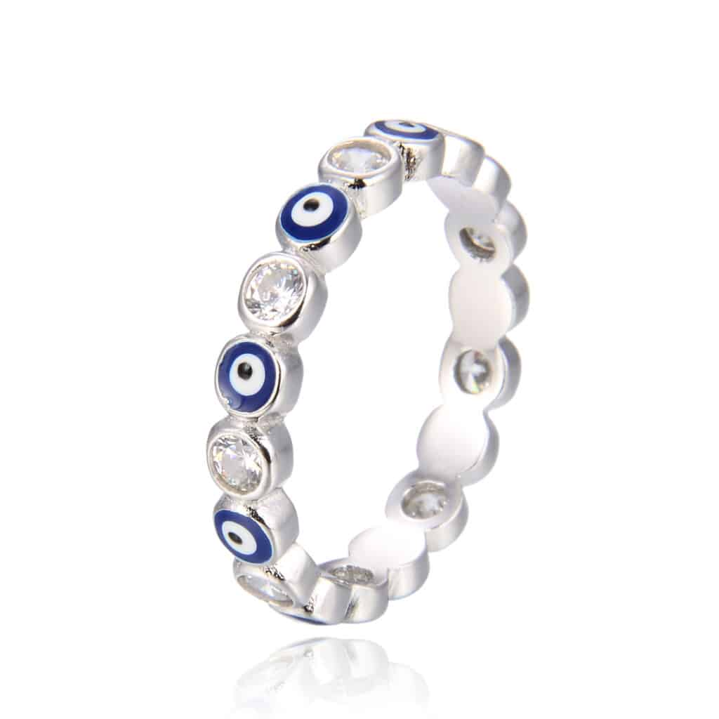 טבעת כסף 925 עינים כחולות מזל עבה