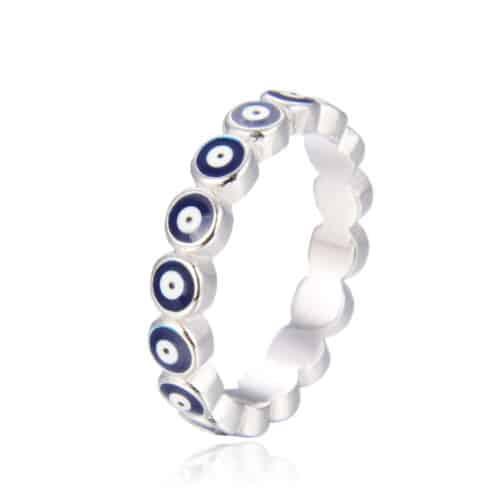 טבעת כסף 925 עינים כחולות
