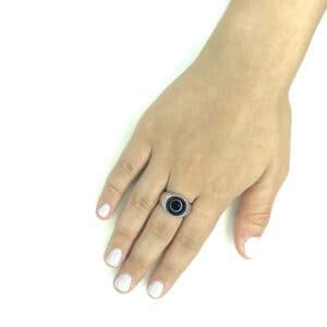 טבעת כסף 925  ראונד בלאק
