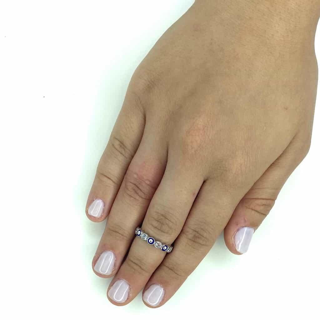 2 טבעת כסף 925 עינים כחולות מזל עבה