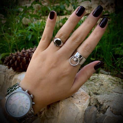 טבעת כסף 925 לולאה פס רחב